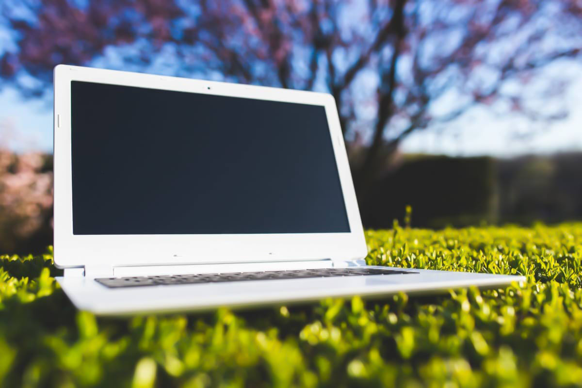 laptop on synthetic turf